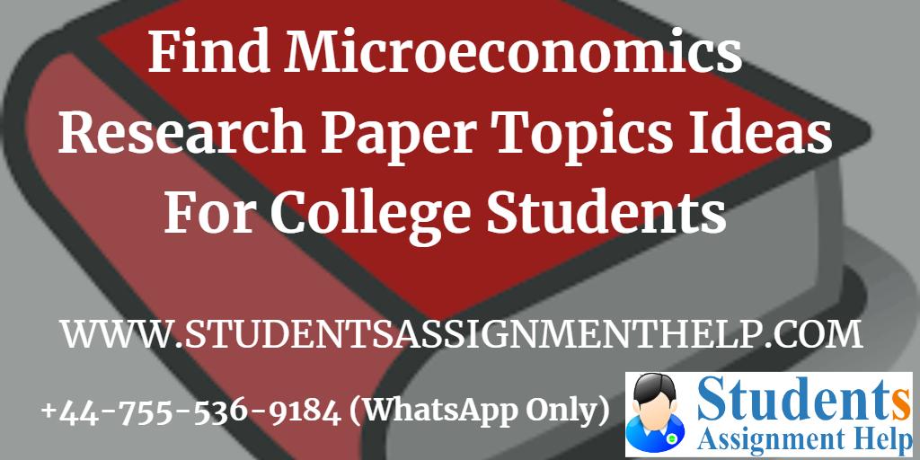 microeconomics assignment topics