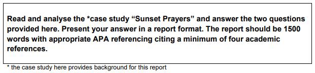 BUMGT1501 Management Principles Sunset Prayers Case Study Solutions 1