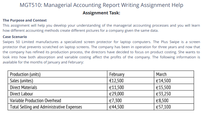 MGT 510 Managerial Accounting Assessment 1