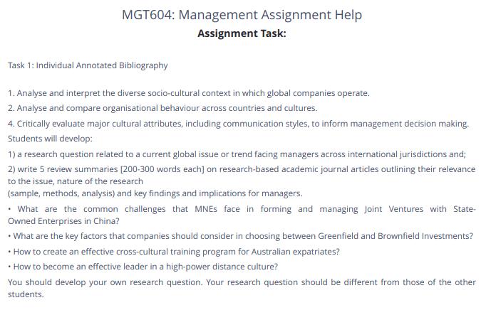 MGT604 Organizational Behavior Management Assignment Answer