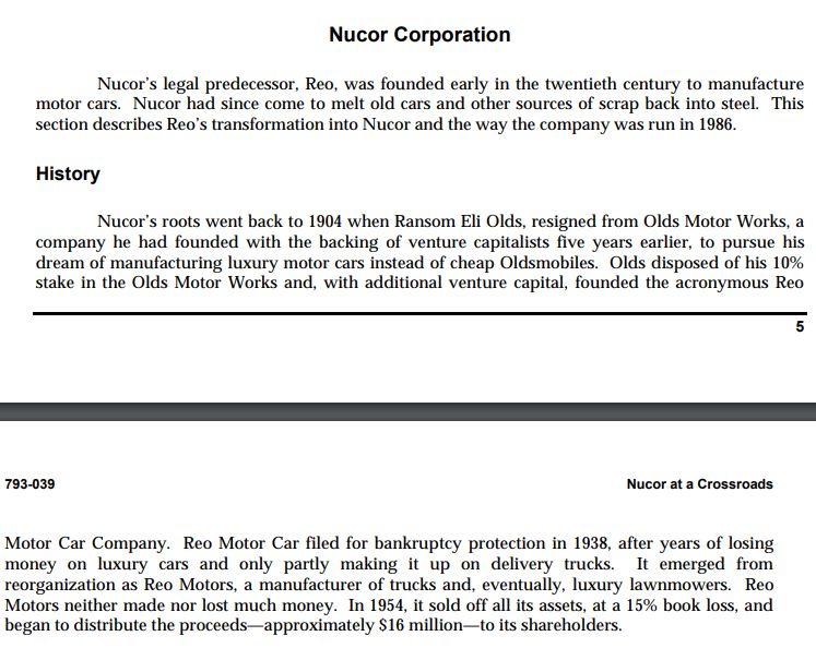 Nucor corporation case study