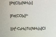 For each of the following organometallic species calculate the oxidation