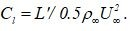 Calculate the sectional lift coefficient