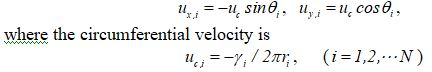 velocity of the ith point vortex is